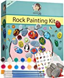 Rock Painting Kit by Creative Lily – Hours of Fun for Kids & Adults Hide and Seek – Complete Set with Rocks, Paints, Transfer Stickers, Paintbrushes, Instruction Guide – Craft Set Perfect for Gifts