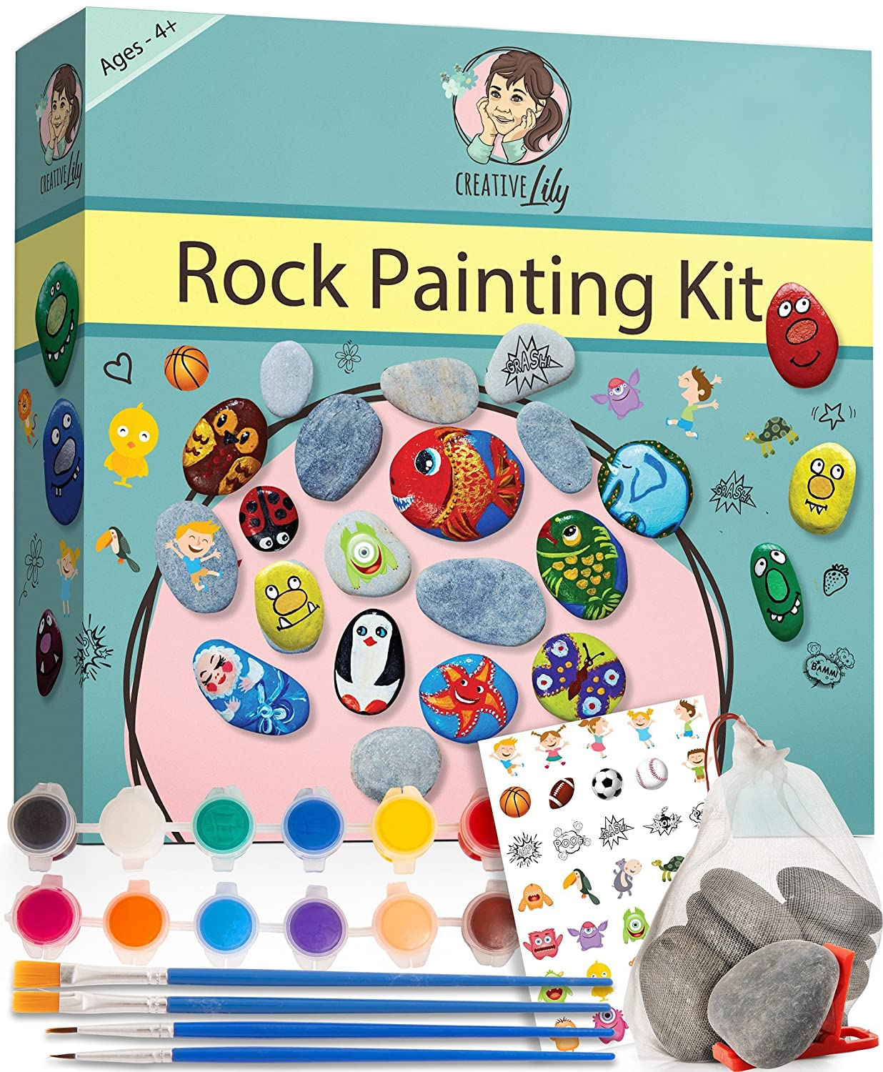 Rock Painting Kit by Creative Lily – Hours of Fun for Kids & Adults Hide and Seek – Complete Set with Rocks, Paints, Transfer Stickers, Paintbrushes, Instruction Guide – Craft Set Perfect for Gifts Ventura