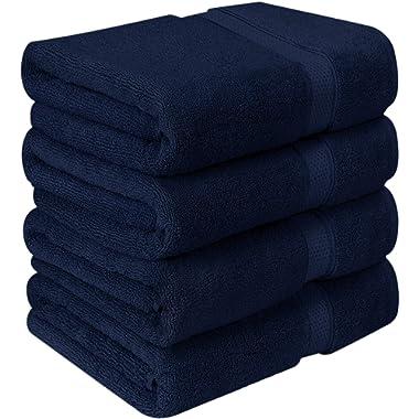 Utopia Towels Premium Bath Towels (Pack of 4, 27 x 54 inches) 100% Ring-Spun Cotton Towel Set (Navy Blue)