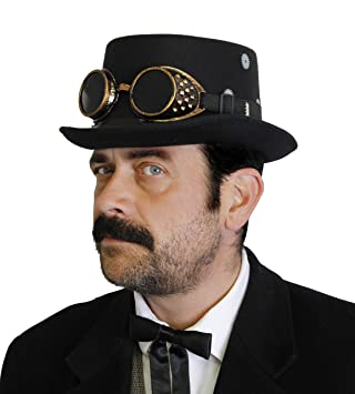 DELUXE   STEAMPUNK TOP HAT WITH GOGGLES - ADULT FELT TOP HAT WITH ... fd01351b0046