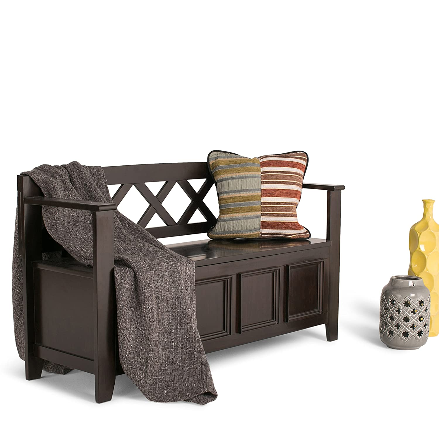 Design Entryway Bench amazon com simpli home amherst entryway storage bench dark brown kitchen dining