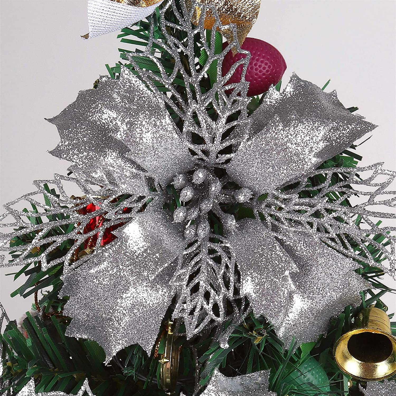 RECUTMS 12 Pieces Glitter Artificial Poinsettia Flowers Christmas Wreath Christmas Tree Flowers, Glitter Gold 6