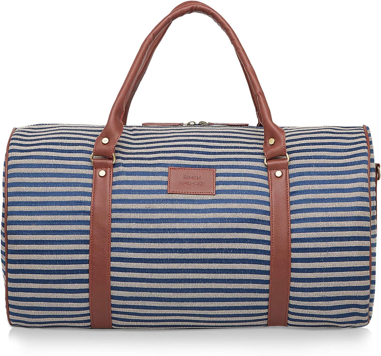 Simon Spencer Blue Tapestry Weekender Handmade Travel Duffel Bag