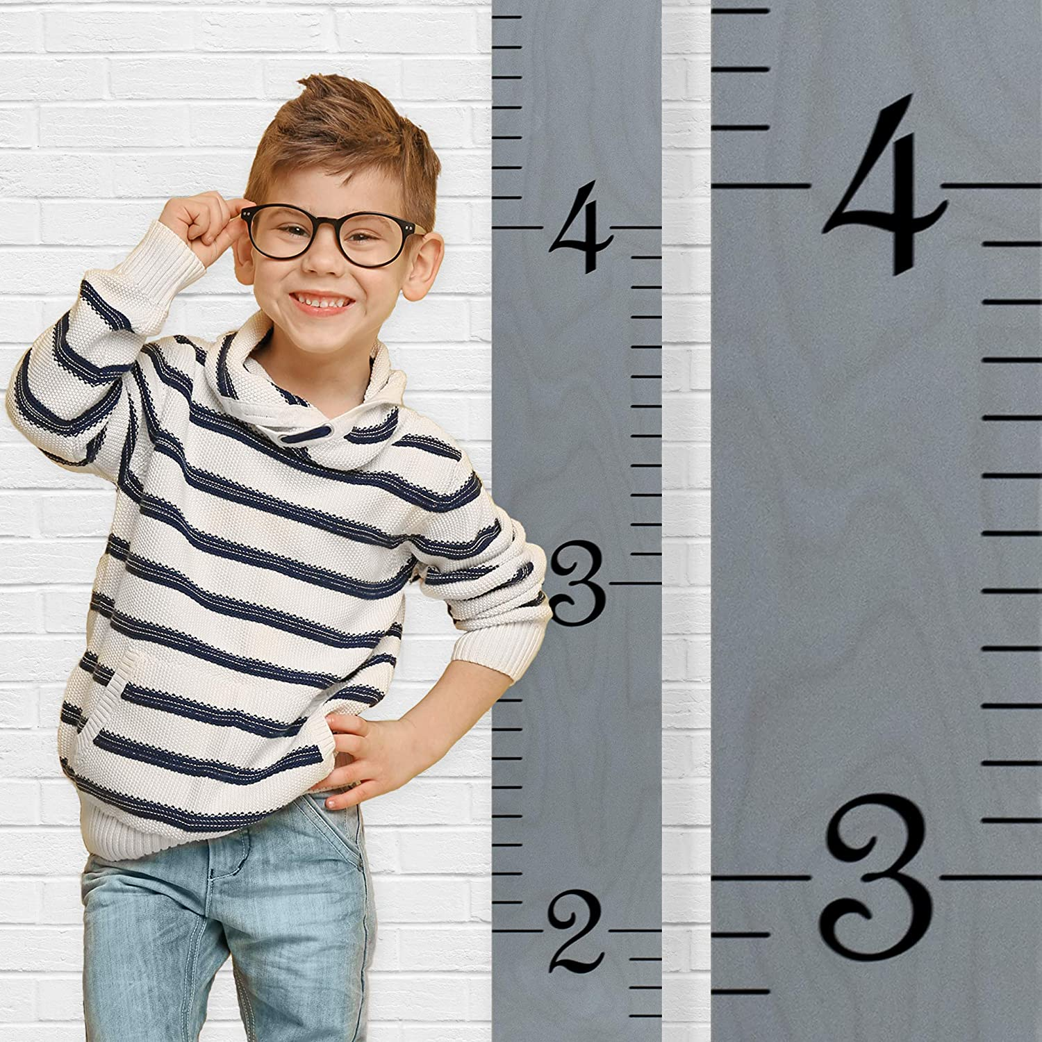 Growth Chart Art | Wooden Growth Chart Ruler Kids Height Chart for Boys + Girls | Measuring Kids Height Wall Décor | Honey Maple Ruler with Black Numerals RULMH
