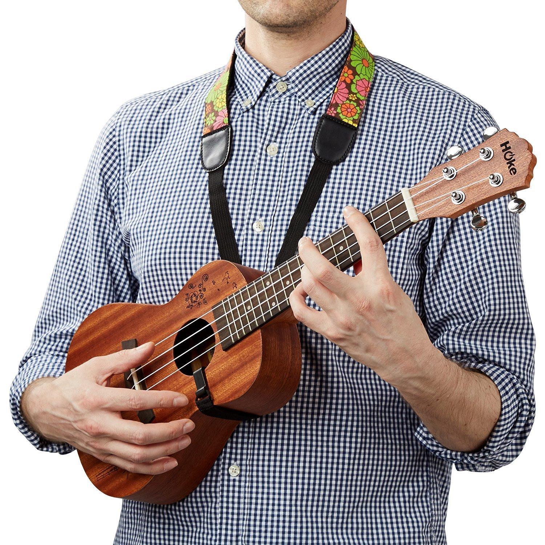Mugig Ukulelegurt gedruckende Blumen Jeansmaterial Gurt für Ukulele oder mini Gitarre(gedruckende Blumen)