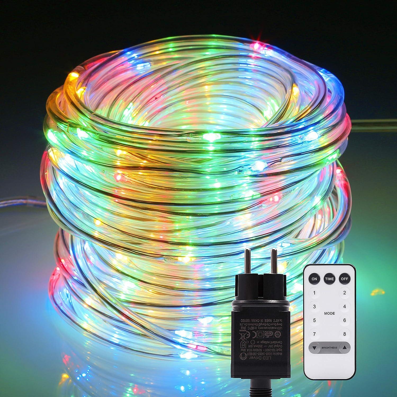 Tubo luminoso! B-right Tubo led luminoso 14M 120 LED con telecomando, tubo a batteria Multicolore, 8 modalità d'illuminazione, IP67 con funzione di memoria per Natale, Casa, Matrimonio ecc. 8 modalità d'illuminazione