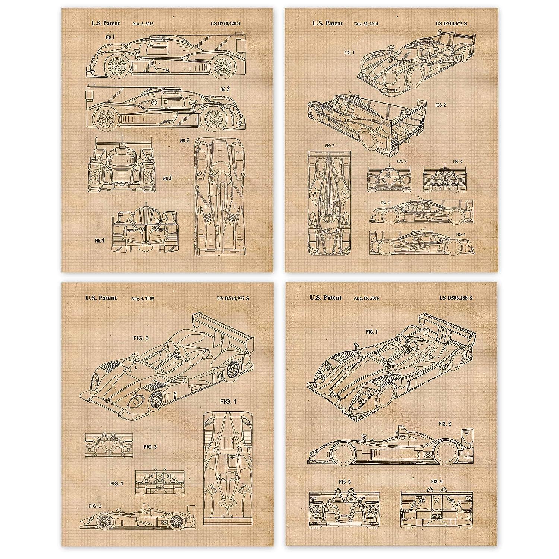 Amazon Com Vintage Porsche Racing Patent Poster Prints Set Of 4 8x10 Unframed Photos Great Wall Art Decor Gifts Under 20 For Home Office Garage Man Cave Shop College Student Teacher Imsa
