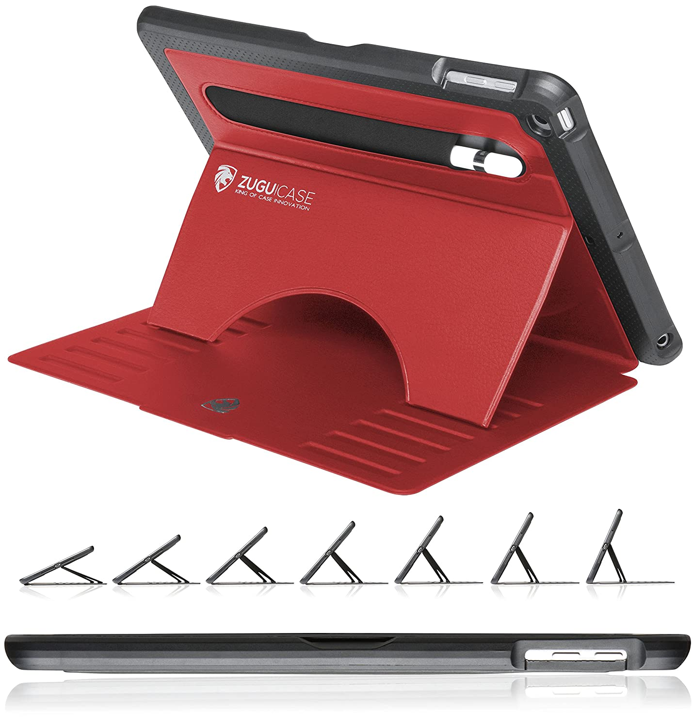 ZUGU CASE - 2018/2017 iPad 5 & 6 Gen (9.7 inch) & iPad Air 1 Prodigy X Case - Very Protective But Thin + Convenient Magnetic Stand + Sleep/Wake Cover (Red)