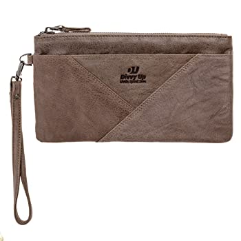 Womens Genuine Leather Clutch for Budget Envelopes, Cell Phone, Carry All Zipper Wristlet Purse for Women