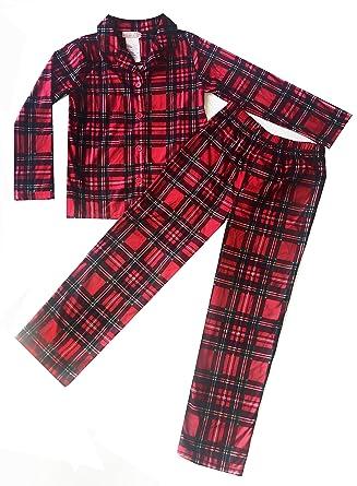 40617f370a Royal Boys Red Plaid Button Up Longs Sleeve Pants Pajamas PJ Set (5 XS)