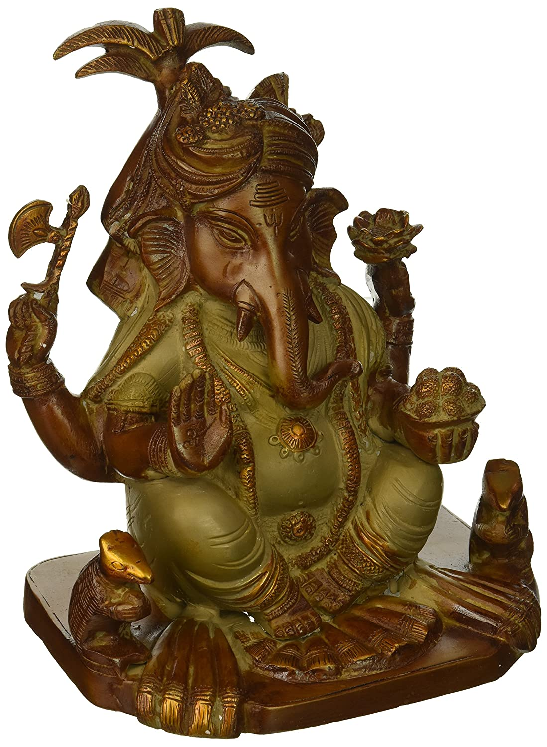 CDM product Exotic India Hindu God Ganesha Statue Brass, 9 Inches Height big image
