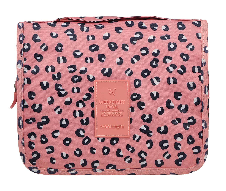 Cosmetic Makeup Bag Case Hanging Toiletry Bag Travel Organizer Travel Kit for Women Men Pink Leopard