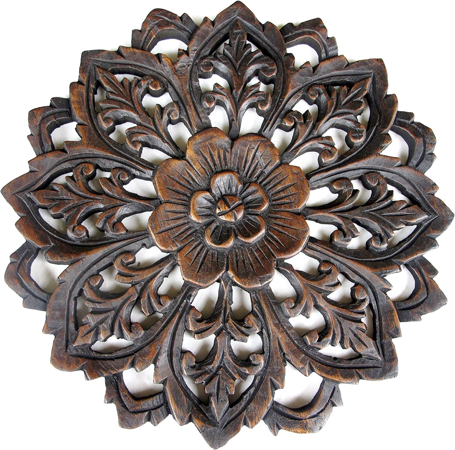 Teak Wood Wall Panel - Thailand Wooden Carving - Relief Panel Art -12 Inches (Round Dark Spear 11.5