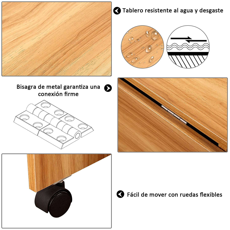 Homcom Mesa Plegable con Ruedas Estante Multifuncional para Comedor Salón Mesa Auxiliar 3 Formas Espacio Ahorrado Madera: Amazon.es: Hogar