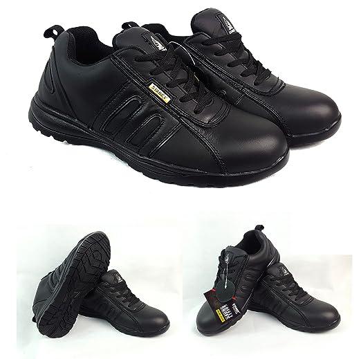 Sicherheitsschuhe mit Stahlkappe für Arbeit, Stiefelette, Schuhe, Turnschuhe, Wanderschuhe, Herren, Leder, grau / schwarz, 6