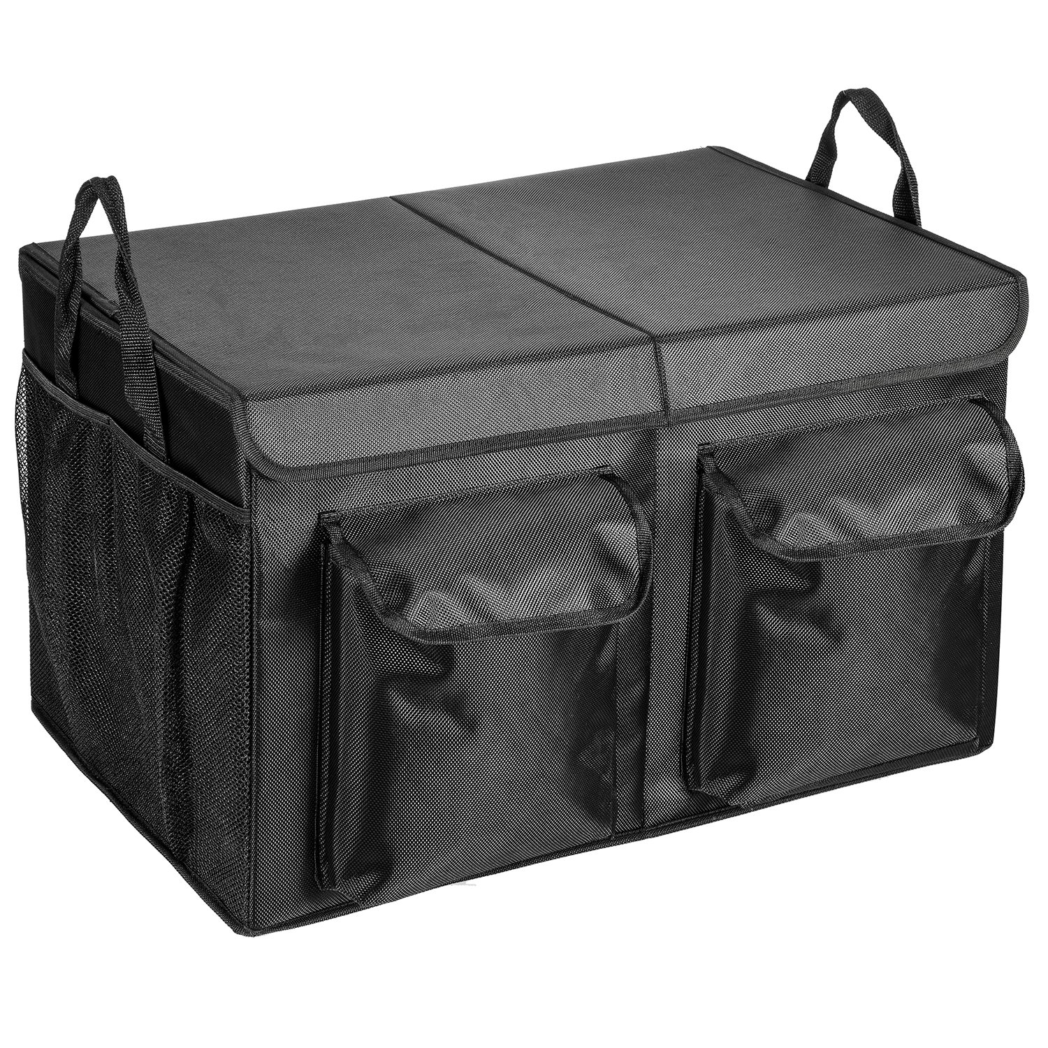 MaidMAX Trunk Organizer for SUV, 2 Compartments with a Lid, Foldable, Black 903057