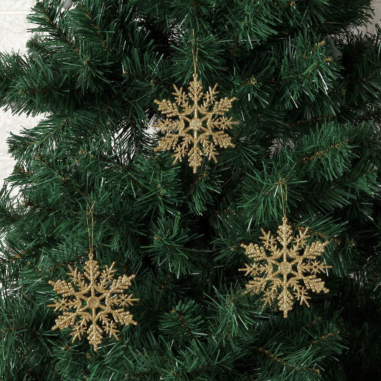 SAYOMOK 24 Pieza Navidad Copo de Nieve, Copos Nieve Decoración Árbol de Navidad Adornos Navideños, Purpurina Plástico Copos de Nieve Colgantes para Fiesta ...