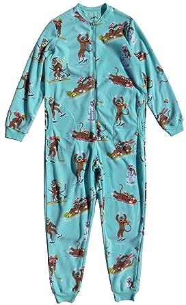 38fea9361 Nick   Nora Women s Sock Monkey Fleece One Piece Zip Front Pajamas ...