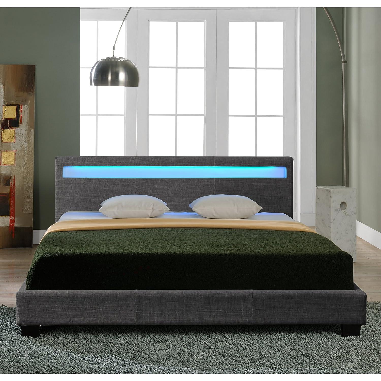 Fernbedienung Corium Hochwertiges LED-Bett aus Stoff 140x200cm dunkelgrau inkl