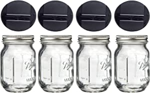 Mini Mason Spice Jar with Dispenser Lid 4oz (4, black)