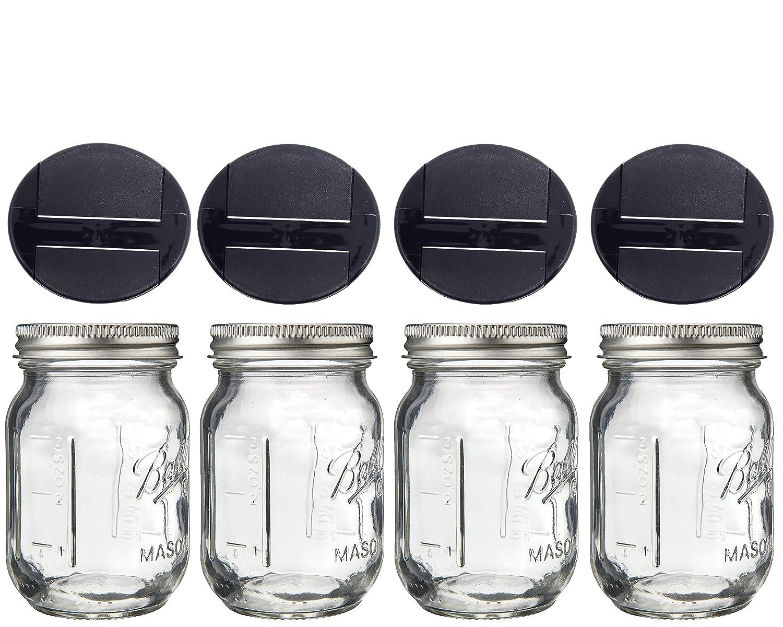 Mini Mason Spice Jar with Dispenser Lid 4oz (4, black) Multiple