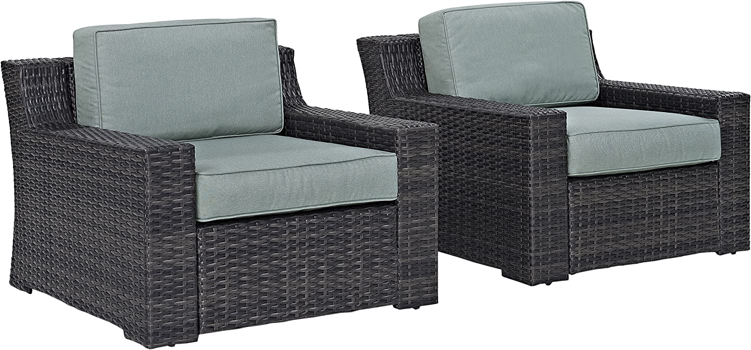 Crosley Furniture KO70100BR Beaufort 2-Piece Outdoor Wicker Seating Set, Brown with Mist Cushions