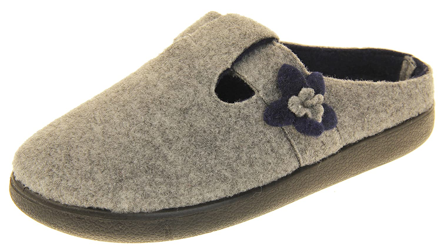 Coolers Womens Grey T-bar /& Navy Flower Felt Mules Slippers 8 B M US