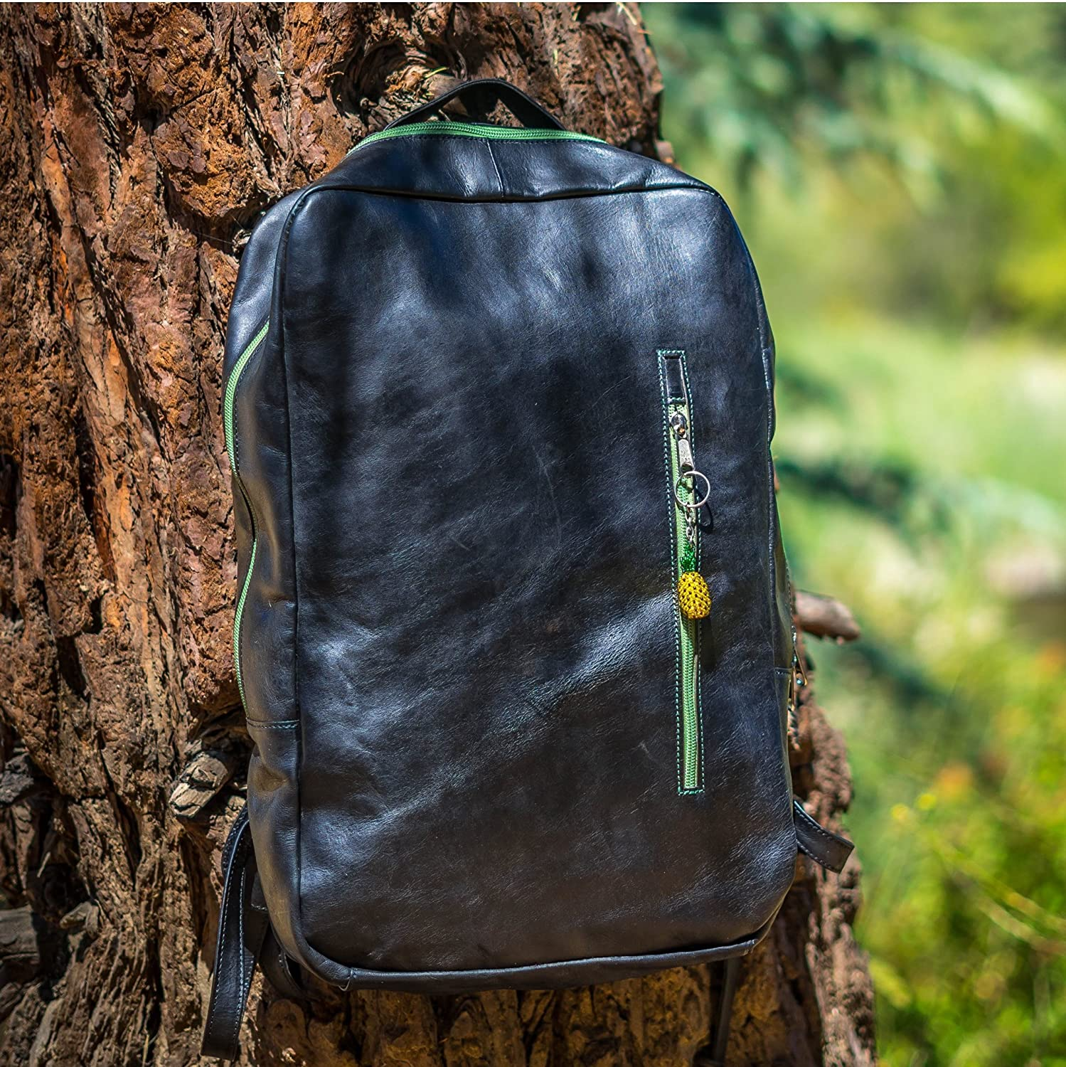 Minimalist Leather Laptop Backpack with Exotic Accents