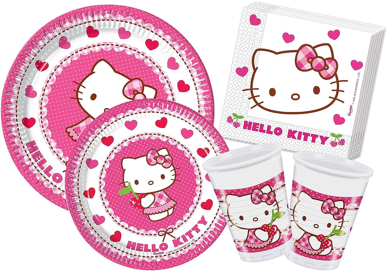 Ciao Y4307 - Kit Party Festa in Tavola Hello Kitty Hearts per 24 persone 112 pezzi: 24 piatti grandi, 24 piatti medi, 24 bicchieri, 40 tovaglioli)