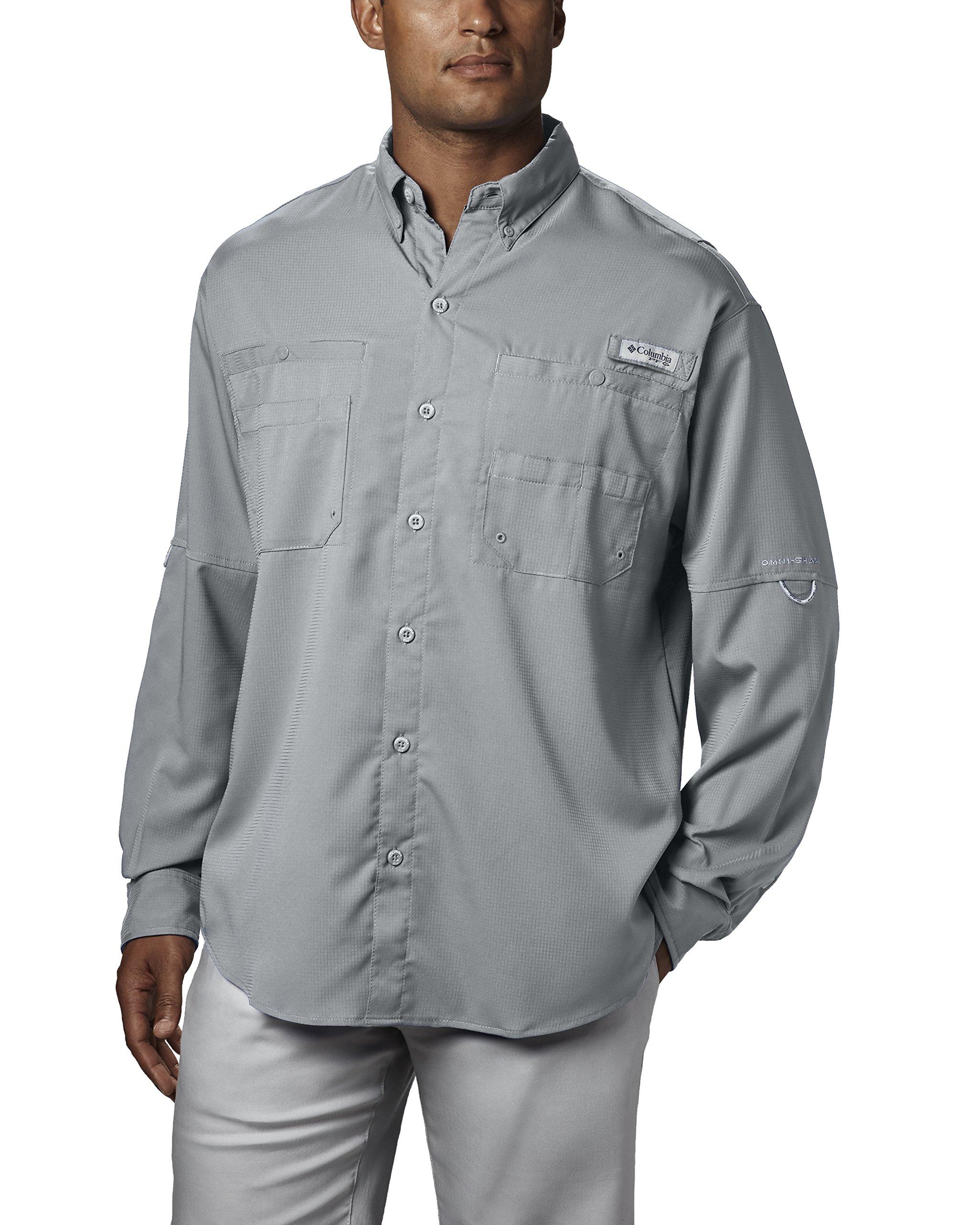 Columbia Men's Plus Tamiami II Long Sleeve Shirt, Cool Grey - X-Small