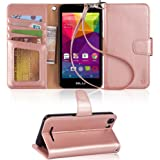 BLU Advance 5.0 Case, Arae [Wrist Strap] Flip Folio [Kickstand Feature] PU leather wallet case with ID&Credit Card Pockets For BLU Advance 5.0 (Rosegold)