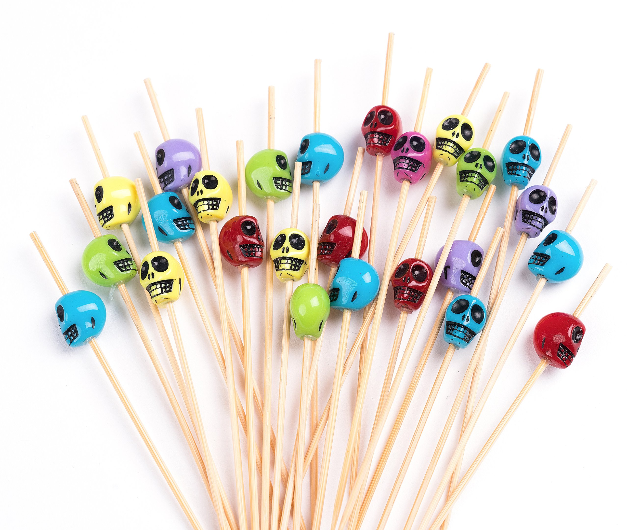 PuTwo Cocktail Picks Handmade Bamboo Toothpicks 100ct 4.7'' in Multicolor Skulls by PuTwo (Image #1)