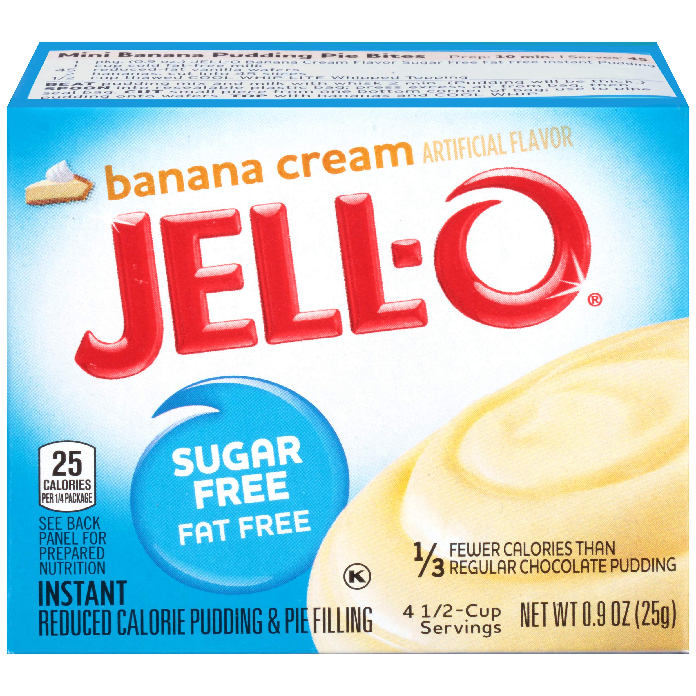 Jell-O Instant Sugar-Free Fat-Free Banana Pudding & Pie Filling, 0.9 oz Box (Pack of 6)