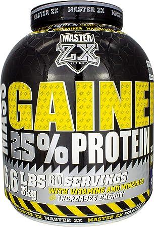 Master ZX | GAINER 25% - Mass Gainer 25% de Proteina - Incrementa la masa muscular, alto contenido en vitaminas y minerales - 3 KG (Brownie)