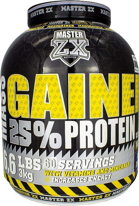 Master ZX   GAINER 25% - Mass Gainer 25% de Proteina - Incrementa la masa muscular, alto contenido en vitaminas y minerales - 3 KG (Brownie)