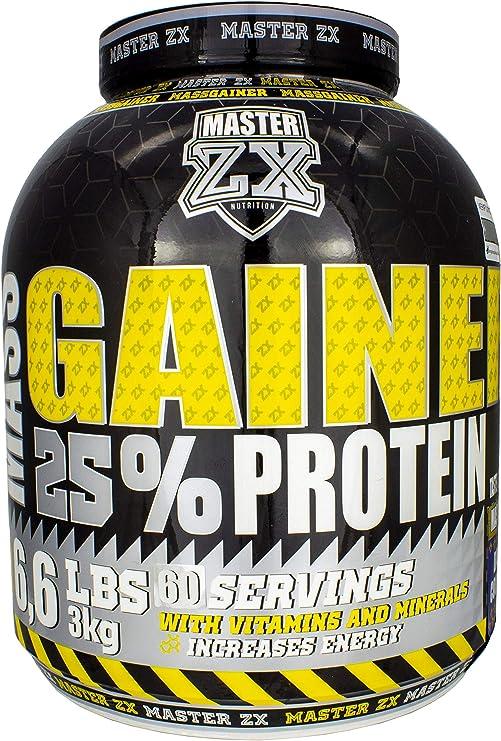 Master ZX   GAINER 25% - Mass Gainer 25% de Proteina - Incrementa la masa muscular, alto contenido en vitaminas y minerales - 3 KG (Dark Cookie)