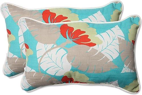 Pillow Perfect Outdoor Indoor Avia Surf Rectangular Throw Pillow Set of 2 ,Blue