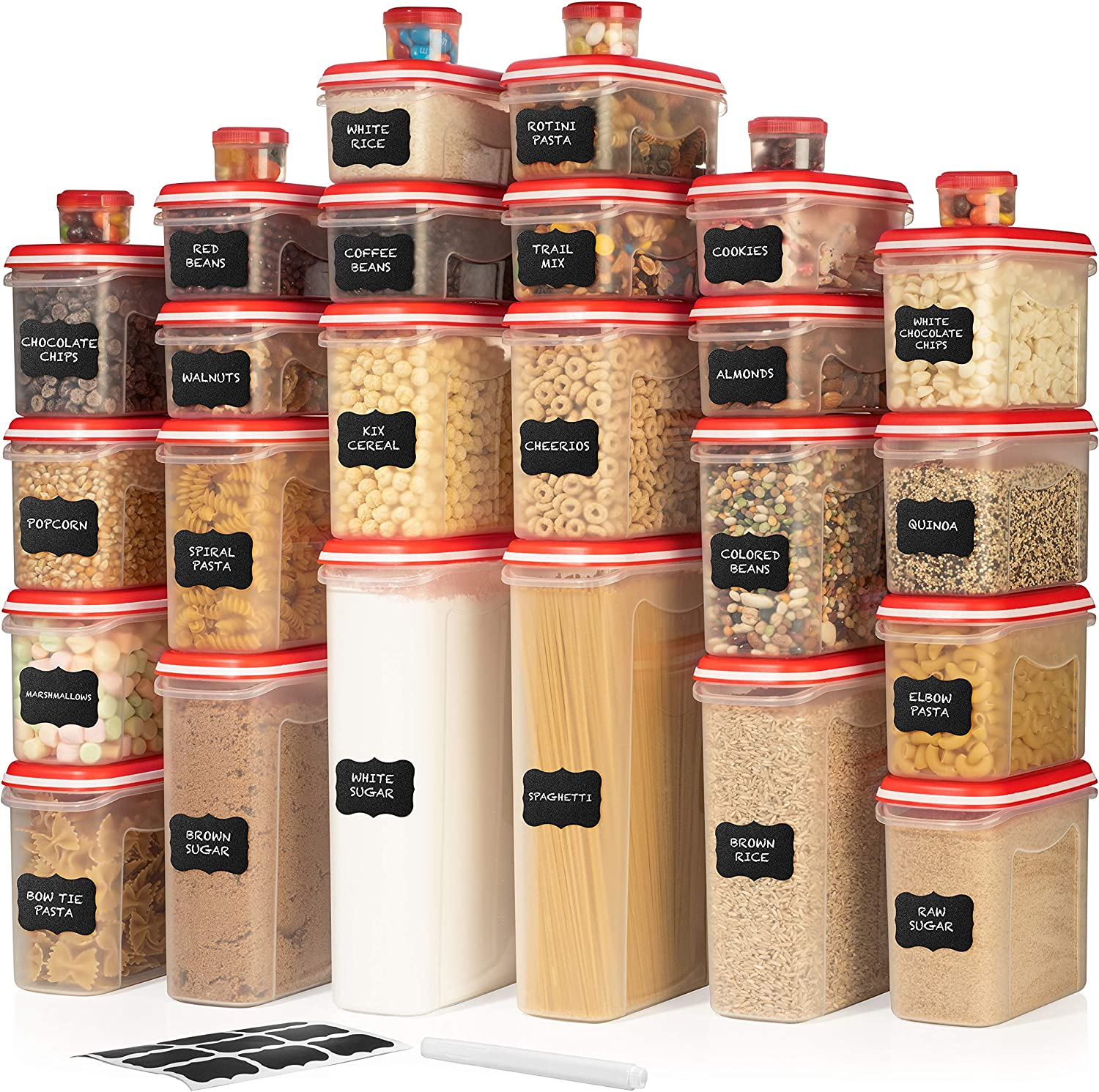 LARGEST Set of 60 Pc Airtight Food Storage Containers (30 Container Set) Airtight Plastic Dry Food Space Saver Organizer, One Lid Fits All - Stackable Freezer Refrigerator kitchen Storage Containers