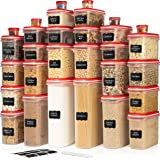 LARGEST Set of 60 Pc Airtight Food Storage Containers (30 Container Set) Airtight Plastic Dry Food Space Saver Organizer…