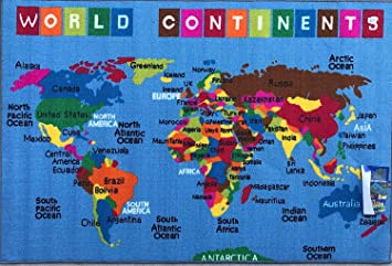 Play Time 4x6 Kids Area Rug Reversible World Continent Map Learning Carpet Game Room Design 7 4 X 5 9 Feet Blue