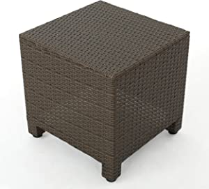 Christopher Knight Home Puerta Outdoor Wicker Side Table, Light Brown