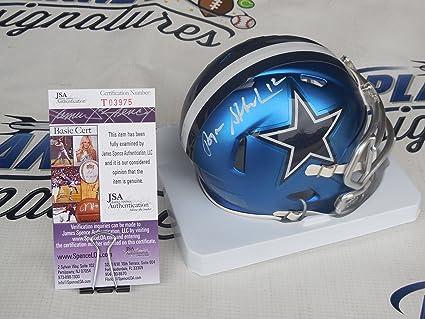6d3c98c2382 Image Unavailable. Image not available for. Color  Roger Staubach Signed  Dallas Cowboys Mini Blue BLAZE Helmet JSA COA