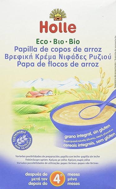 Holle Papilla de Copos de Arroz (+4 Meses) sin Gluten - Paquete de