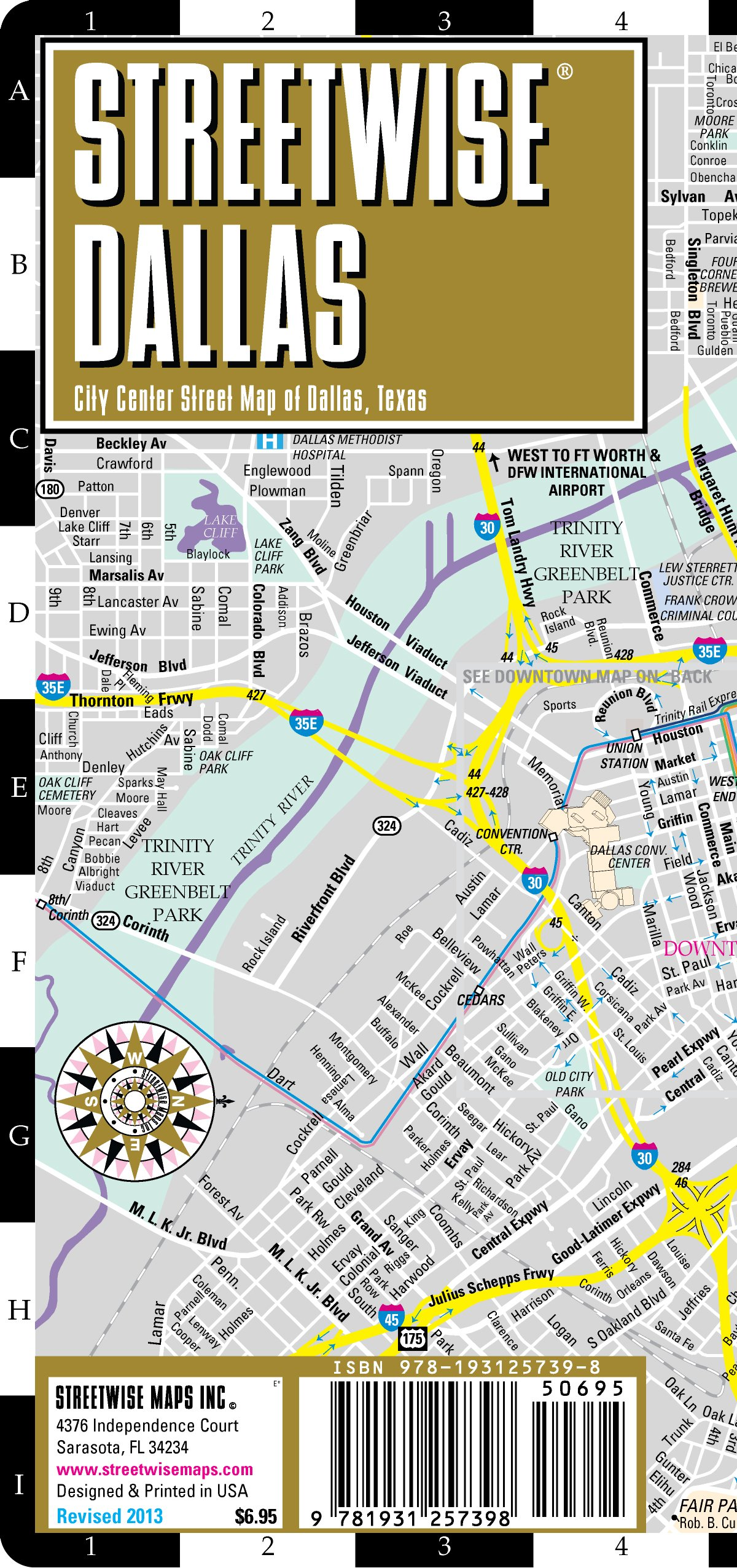Streetwise Dallas Map - Laminated City Center Street Map of Dallas on