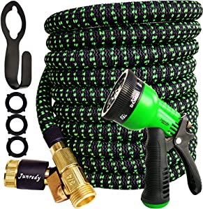 Junredy Expandable Garden Hose 25ft, Lightweight Water Hose with 8 Function Nozzle Sprayer, Flexible Hose with Durable 3750D Fabric, 3-Layers Latex, 3/4