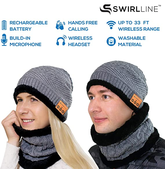 9381da60085 Amazon.com  Wireless Beanie - Wireless Headphones Hat and Scarf Set for  Winter Outdoor Men Women Warm Knitted Music Hat With Backpack - Built-in  Microphone  ...