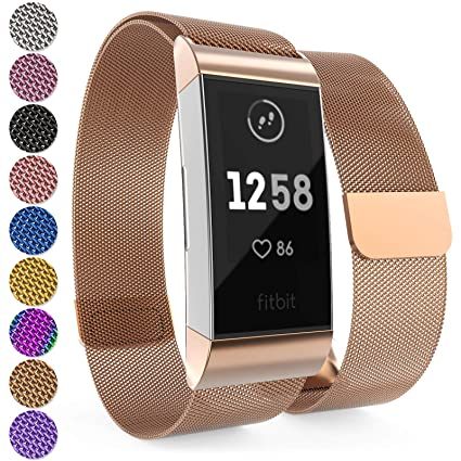 Yousave Accessories Fitbit Charge 3 Bands, Fitbit Charge 3 Metal Band with  Adjustable Milanese Loop Design, Brushed Stainless Steel Magnetic