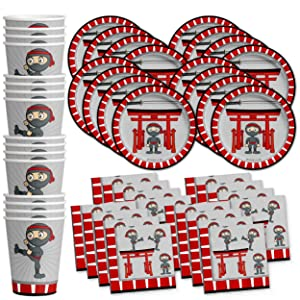 Ninja Warrior Birthday Party Supplies Set Plates Napkins Cups Tableware Kit for 16 by Birthday Galore