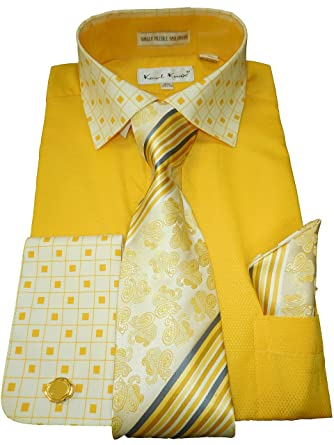 Gold Men Dress Shirts with Tie