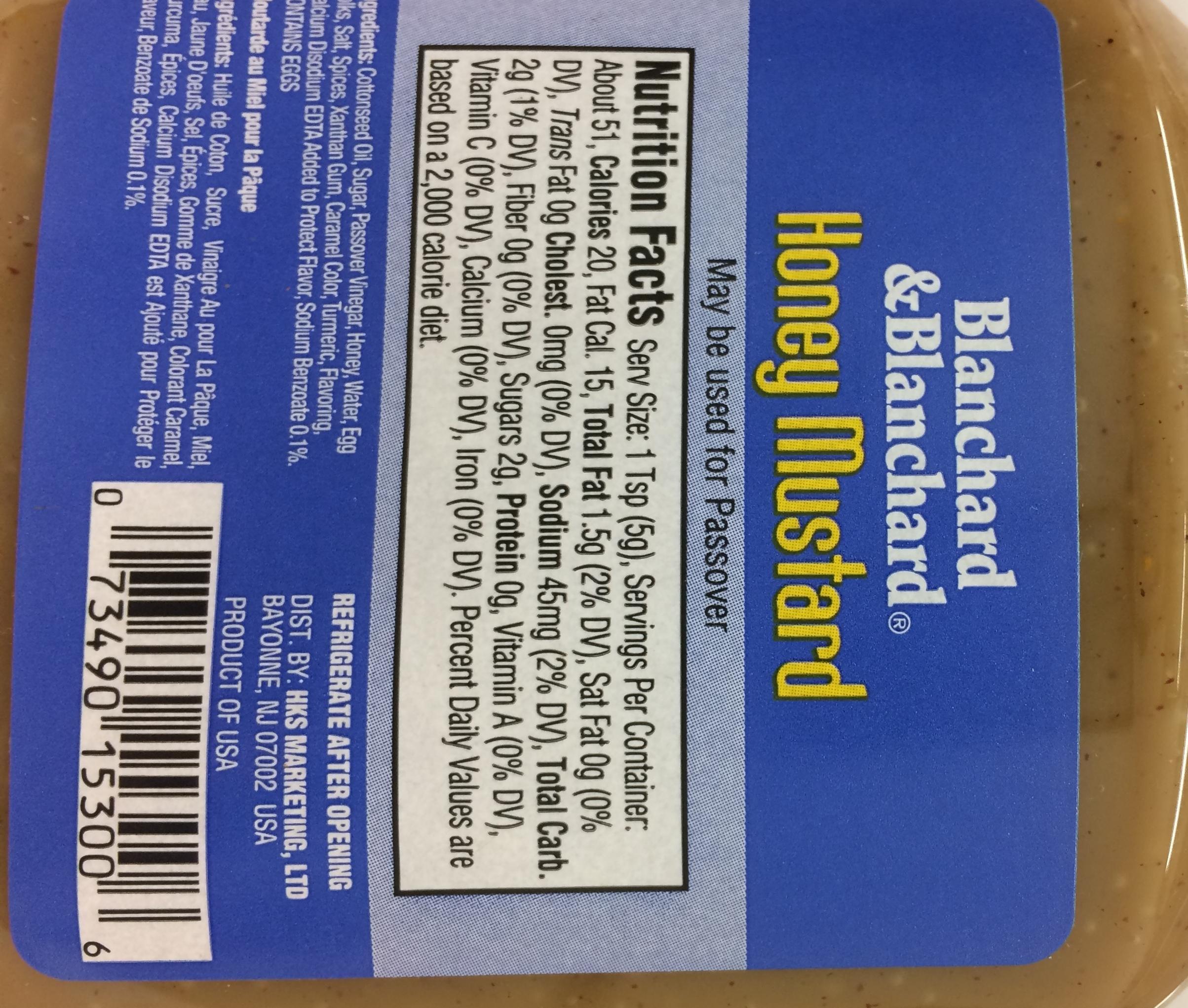 Blanchard & Blanchard Gluten Free Honey Mustard Kosher For Passover 9 oz. Pack of 3. by Blanchard & Blanchard